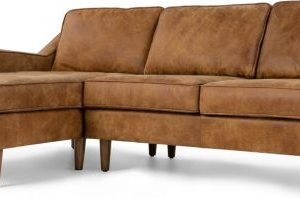 Dallas Left Hand Facing Chaise End Corner Sofa, Outback Tan Premium Leather