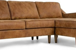 Dallas Right Hand Facing Chaise End Corner Sofa, Outback Tan Premium Leather