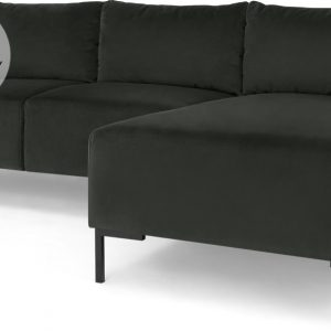 Frederik 3 Seater Right Hand Facing Compact Corner Chaise End Sofa, Dark Anthracite Velvet