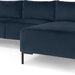 Frederik 3 Seater Right Hand Facing Compact Corner Chaise End Sofa, Sapphire Blue Velvet
