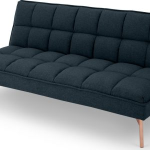 Hallie Click Clack Sofa Bed, Aegean Blue with Copper Legs