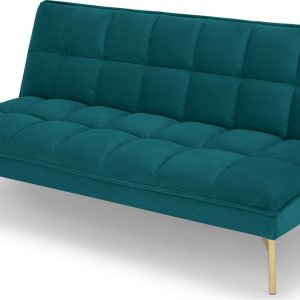 Hallie Click Clack Sofabed, Tuscan Teal Velvet with Brass Legs
