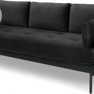 Harlow 3 Seater Sofa, Midnight Grey Velvet