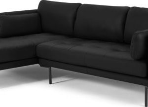 Harlow Left Hand Facing Chaise End Corner Sofa, Denver Black Leather