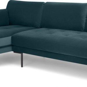 Harlow Left Hand Facing Chaise End Corner Sofa, Steel Blue Velvet