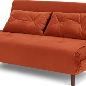 Haru Large Double Sofa Bed, Velvet Flame Orange