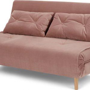 Haru Large Double Sofa Bed, Vintage Pink Velvet