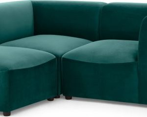 Juno 2 Seater Sofa with Footstool, Seafoam Blue Velvet