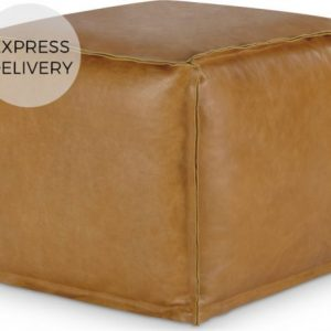 Kirby Square Pouffe, Tan Leather