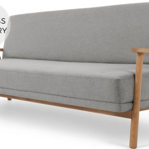 Lars Click Clack Sofa Bed, Mountain Grey and Oak Frame