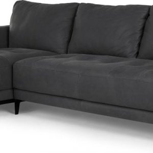 Luciano Left Hand Facing Chaise End Corner Sofa, Grey Leather