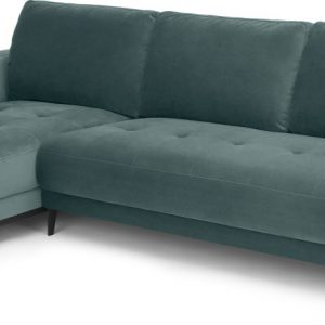 Luciano Left Hand Facing Chaise End Corner Sofa, Marine Green Velvet