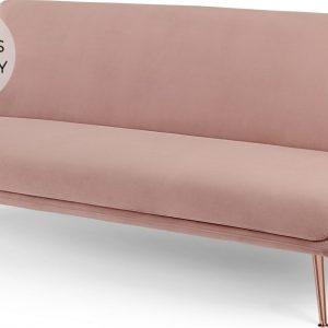 Moby Click Clack Sofa Bed, Vintage Pink Velvet with Copper Leg