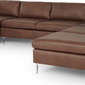 Monterosso Right Hand Facing Corner Sofa, Walnut Brown Leather