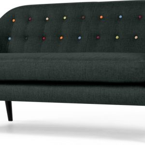 Ritchie 3 Seater Sofa, Anthracite Grey with Rainbow Buttons
