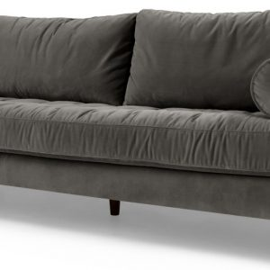 Scott 3 Seater Sofa, Concrete Cotton Velvet