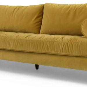 Scott 3 Seater Sofa, Gold Cotton Velvet