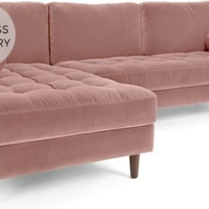 Scott 4 Seater Left Hand Facing Chaise End Corner Sofa, Blush Pink Cotton Velvet