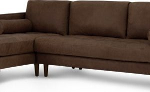 Scott 4 Seater Left Hand Facing Chaise End Corner Sofa, Charm Mocha Premium Leather