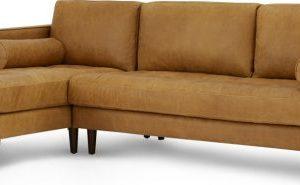 Scott 4 Seater Left Hand Facing Chaise End Corner Sofa, Charm Tan Premium Leather
