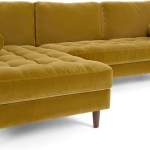 Scott 4 Seater Left Hand Facing Chaise End Corner Sofa, Gold Cotton Velvet