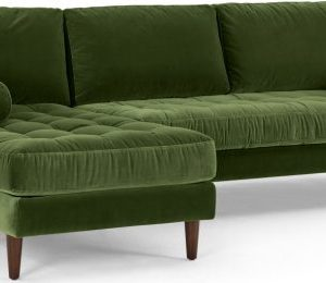 Scott 4 Seater Left Hand Facing Chaise End Corner Sofa, Grass Cotton Velvet