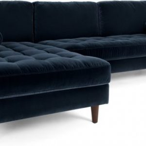 Scott 4 Seater Left Hand Facing Chaise End Corner Sofa, Navy Cotton Velvet