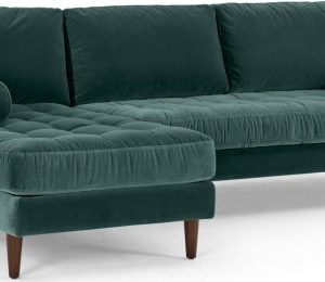 Scott 4 Seater Left Hand Facing Chaise End Corner Sofa, Petrol Cotton Velvet
