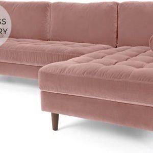 Scott 4 Seater Right Hand Facing Chaise End Corner Sofa, Blush Pink Cotton Velvet