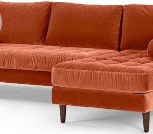 Scott 4 Seater Right Hand Facing Chaise End Corner Sofa, Burnt Orange Cotton Velvet