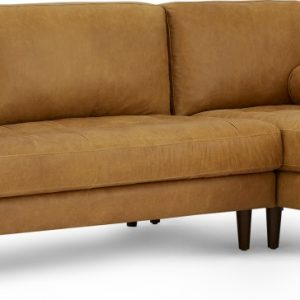 Scott 4 Seater Right Hand Facing Chaise End Corner Sofa, Charm Tan Premium Leather