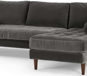 Scott 4 Seater Right Hand Facing Chaise End Corner Sofa, Concrete Cotton Velvet