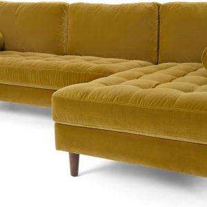 Scott 4 Seater Right Hand Facing Chaise End Corner Sofa, Gold Cotton Velvet
