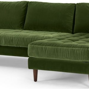 Scott 4 Seater Right Hand Facing Chaise End Corner Sofa, Grass Cotton Velvet