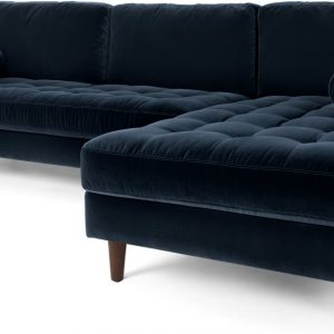 Scott 4 Seater Right Hand Facing Chaise End Corner Sofa, Navy Cotton Velvet