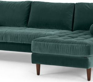 Scott 4 Seater Right Hand Facing Chaise End Corner Sofa, Petrol Cotton Velvet