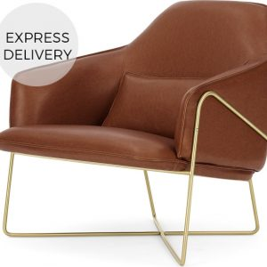 Stanley Accent Armchair, Pecan Brown Leather with Brass Frame