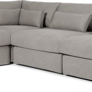 Trent Loose Cover Corner Sofa, Washed Grey Cotton
