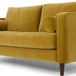 Scott Large 2 Seater Sofa, Gold Cotton Velvet
