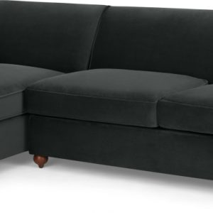 Orson Left Hand Facing Chaise End Sofa Bed, Velvet Midnight Grey