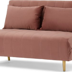 Bessie Small Sofa Bed, Blush Pink Velvet