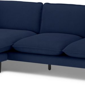 Wes 3 Seater Chaise End Corner Sofa, Midnight Blue Micro Corduroy Velvet