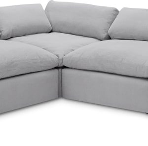 Samona Left Hand Facing Full Corner Sofa, Mineral Cotton & Linen Mix