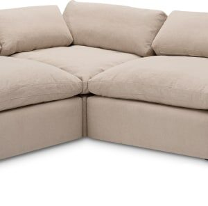 Samona Left Hand Facing Full Corner Sofa, Natural Cotton & Linen Mix