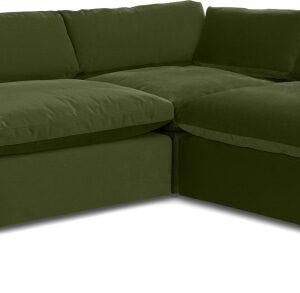 Samona Right Hand Facing Full Corner Sofa, Pistachio Green Velvet