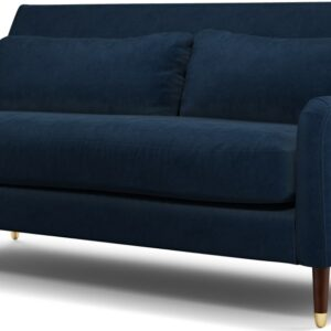 Content by Terence Conran Oksana 3 Seater Sofa, Plush Indigo Velvet with Dark Wood Brass Leg