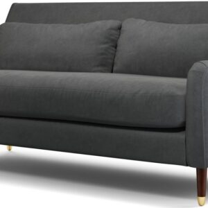 Content by Terence Conran Oksana 3 Seater Sofa, Plush Shadow Grey Velvet with Dark Wood Brass Leg