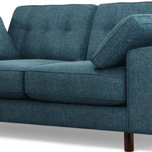 Content by Terence Conran Tobias, 2 Seater Sofa, Textured Weave Aegean Blue, Dark Wood Leg