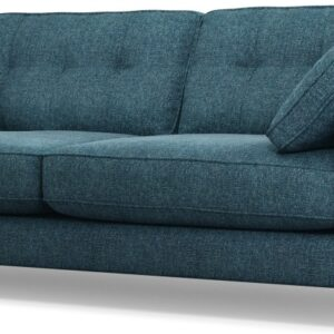 Content by Terence Conran Tobias, 3 Seater Sofa, Textured Weave Aegean Blue, Dark Wood Leg