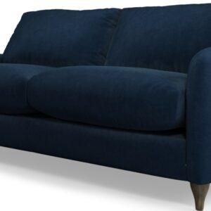 Custom MADE Sofia 2 Seater Sofa, Plush Indigo Velvet with Light Wood Legs